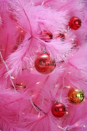 Pink christmas stock photo, Closeup of a pink chirstmas tree with ornaments by Kheng Guan Toh