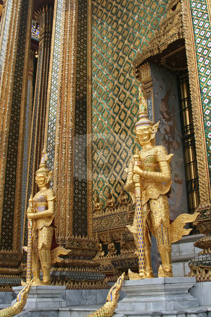 Emerald buddha temple stock photo, Guardian statues in Emerald buddha temple in Bangkok thailand by Kheng Guan Toh