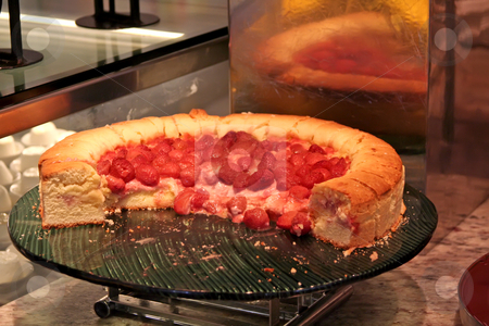 Strawberry pie stock photo, Strawberry pie dessert in restaurant buffet setting by Kheng Guan Toh