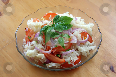 Asian salad stock photo, Asian fresh vegetable salad with white fungus by Kheng Guan Toh