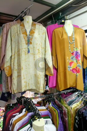 Traditional asian fabrics stock photo, Traditional asian fabrics and clothes for sale in a shop in Malaysia by Kheng Guan Toh