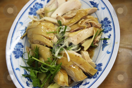 Chinese chicken stock photo, Traditional chinese cuisine sliced boiled chicken on plate by Kheng Guan Toh