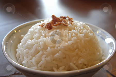 White rice stock photo, Plain white rice in a bowl traditional asian presentation by Kheng Guan Toh