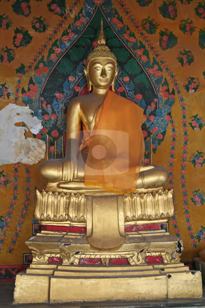 Golden buddha statue stock photo, Golden statue of meditating buddha in Thai temple by Kheng Guan Toh
