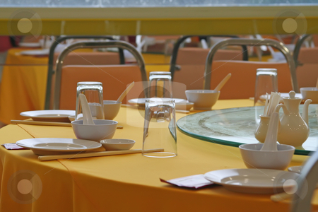 Chinese restauarant stock photo, Table and place setting contemporary chinese restaurant by Kheng Guan Toh