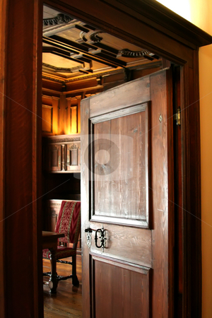 Old room stock photo, Open wooden doorway looking into an old-fashioned european room by Kheng Guan Toh