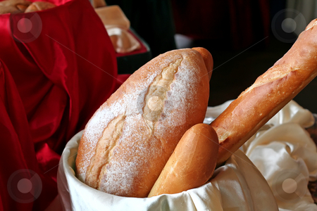 Bread loaves stock photo, Loaves of bread in a basket in restaurant buffet by Kheng Guan Toh