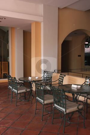 Outdoor dining stock photo, Casual dining outdoors restaurant table and chairs by Kheng Guan Toh