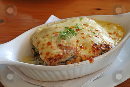 Baked lasagna stock photo, Lasagna in baking dish Italian cuisine melted cheese by Kheng Guan Toh