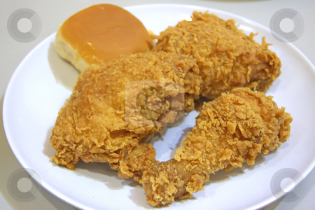 Fried chicken stock photo, Golden fried battered chicken parts on plate by Kheng Guan Toh