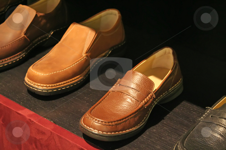 Mens shoes stock photo, Mens casual leather shoes arranged in sales display by Kheng Guan Toh