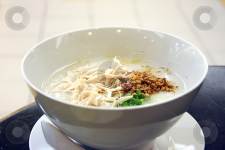 Chinese porridge stock photo, Traditional chinese porridge rice gruel in bowl by Kheng Guan Toh