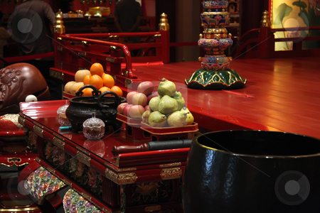 Temple offerings stock photo, Temple offering in traditional chinese toaist buddhist shrine by Kheng Guan Toh