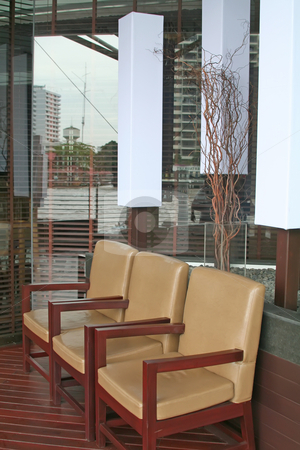 Elegant chairs stock photo, Cafe lounge waiting area with elegant chairs by Kheng Guan Toh