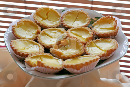 Asian egg tarts stock photo, Traditional asian dessert egg tarts sweet custard pie by Kheng Guan Toh