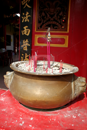 Chinese temple stock photo, Traditional chinese temple red design with brass incense holder by Kheng Guan Toh