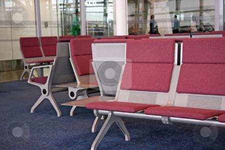 Airport waiting lounge stock photo, Airport waiting lounge area seats KLIA Malaysia by Kheng Guan Toh
