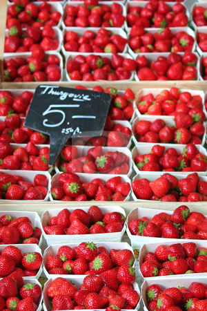 Fresh strawberries stock photo, Fresh strawberries in baskets for sale in a market by Kheng Guan Toh