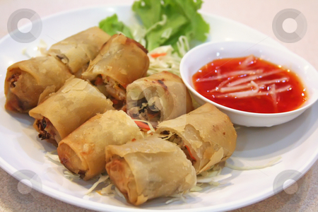 Chinese springrolls stock photo, Springrolls traditional fried appetizer chinese cuisine by Kheng Guan Toh