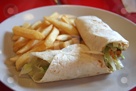 Mexican burritos stock photo, Burritos mexican cuisine wraps with french fries by Kheng Guan Toh