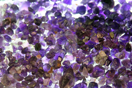 Raw amethyst gemstones stock photo, Amethyst crystals rough and uncut raw gemstones by Kheng Guan Toh