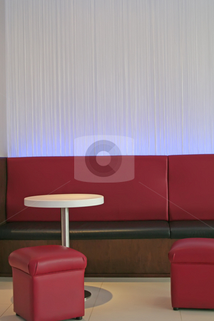 Modern elegant room stock photo, Living room waiting room with elegant modern red design by Kheng Guan Toh