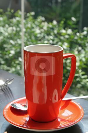 Orange coffee mug stock photo, Tall orange ceramic coffee mug modern design by Kheng Guan Toh