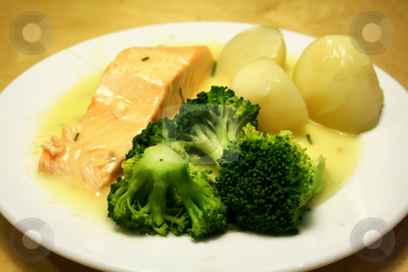 Salmon steak stock photo, Salmon steak in cream sauce with potatoes and broccoli by Kheng Guan Toh