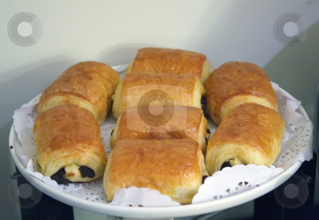 Chocolate pastry stock photo, Plate of french pastry breads with chocolate by Kheng Guan Toh
