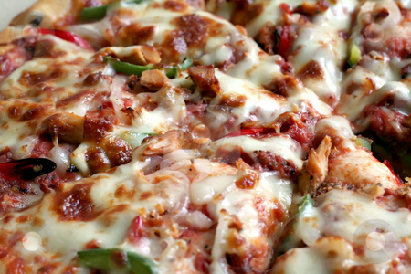 Whole pizza stock photo, Sliced whole cheese and meat pizza in the box by Kheng Guan Toh