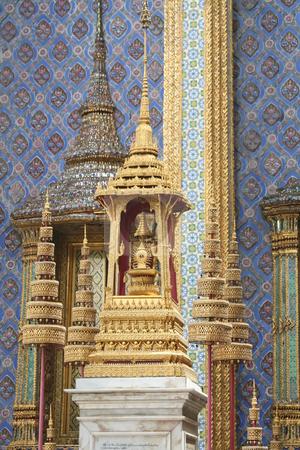 Emerald Temple Buddha stock photo, Golden shrine detail  in the Emerald Buddha Temple in Bangkok Thailand by Kheng Guan Toh