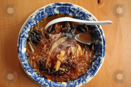 Asian soup noodles stock photo, Dish of spicy soup and noodles traditional asian cuisine by Kheng Guan Toh
