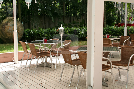 Outdoor cafe stock photo, Outdoor cafe restaurant with tables and chairs by Kheng Guan Toh