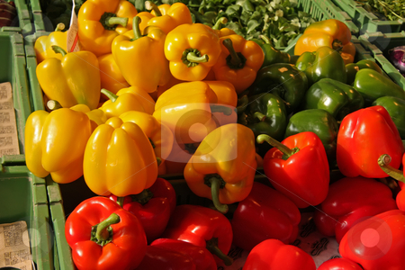 Bell peppers stock photo, Red yellow and green bell peppers on display in market by Kheng Guan Toh
