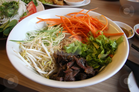 Vietnamese noodles stock photo, Vietnamese cuisine dish of mixed noodles beef and vegetables by Kheng Guan Toh