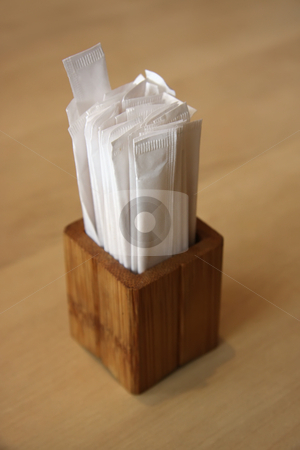 Toothpicks stock photo, Individually wrapped toothpicks in wooden container Japanese restaurant by Kheng Guan Toh