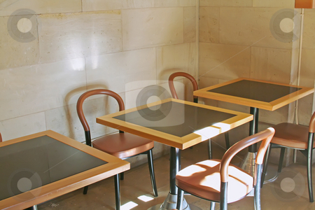 Casual cafe stock photo, Casual sunny bistro cafe dining tables and chairs by Kheng Guan Toh