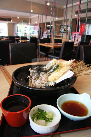 Udon and tempura stock photo, Japanese cuisine udon and tempura fried prawns combo by Kheng Guan Toh