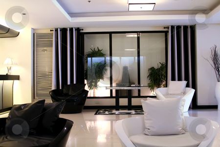 Modern elegant room stock photo, Living room waiting room with elegant modern black and white design by Kheng Guan Toh