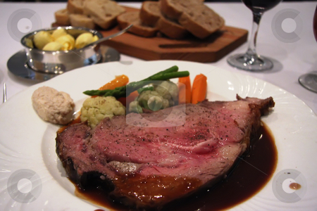 Roast beef stock photo, Roast beef with garnishing on white plate by Kheng Guan Toh