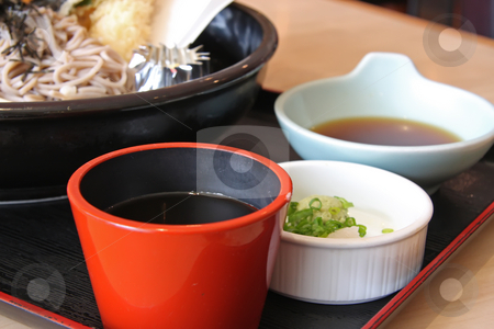 Japanese cuisine stock photo, Japanese cuisine sauces and soup side dishes by Kheng Guan Toh