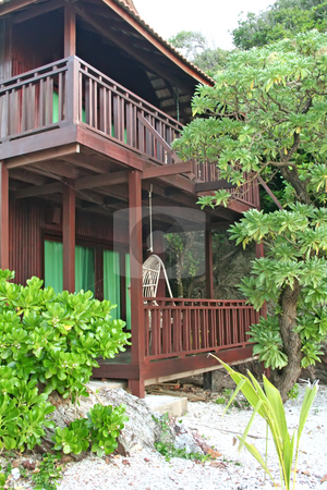 Tropical beach house stock photo, Tropical balineses style resort beach house with balcony by Kheng Guan Toh
