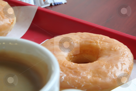 Donut and coffee stock photo, Donut and coffee mug on a fast food tray by Kheng Guan Toh
