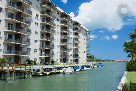 Waterfront condo living stock photo, Florida style waterfront condo living by Lee Barnwell