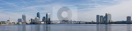 Jacksonville skyline panoramic stock photo, Panoramic view of downtown Jacksonville, Florida along the St. John's River by Lee Barnwell