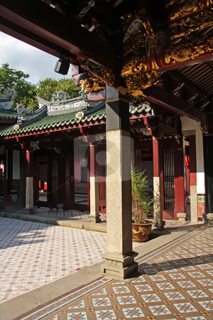 Chinese temple courtyard stock photo, Inner courtyard of traditional chinese temple with pillars and tiles by Kheng Guan Toh