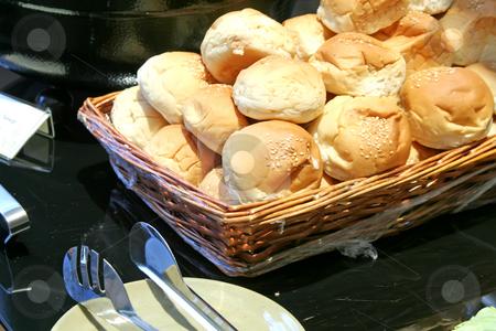 Dinner rolls  stock photo, Dinner rolls in a basket in restaurant buffet by Kheng Guan Toh