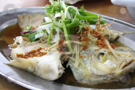 Chinese steamed fish stock photo, Whole steamed fish with soy sauce traditional chinese cuisine by Kheng Guan Toh