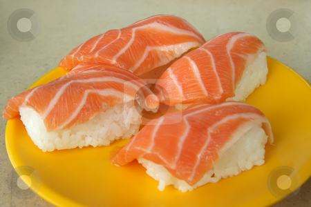 Salmon sushi stock photo, Salmon sushi arranged on plate japanese cuisine by Kheng Guan Toh