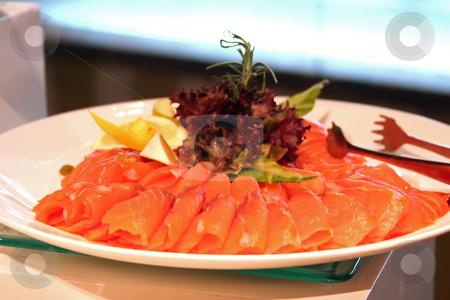 Smoked salmon stock photo, Plate of smoked salmon on white plate by Kheng Guan Toh